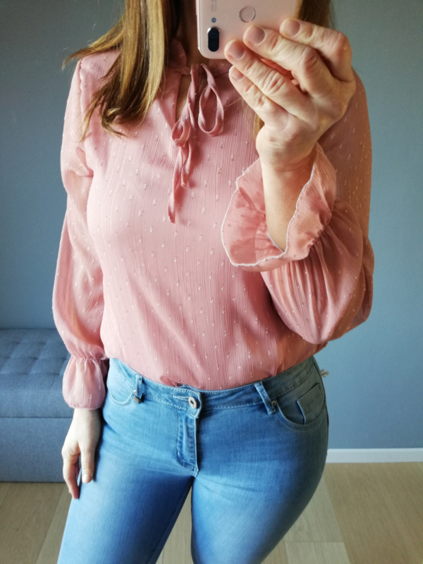 blouse voile strik roze