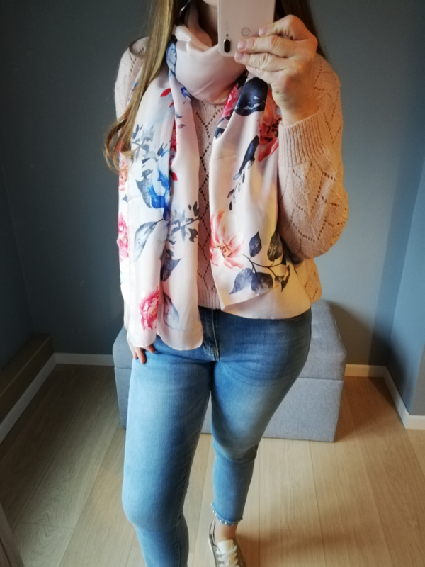 sjaal met bloemen roze
