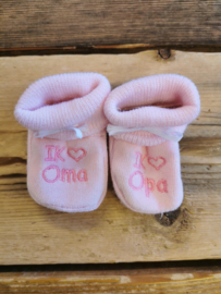 New born slofjes I Love oma & opa