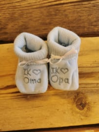 New born slofjes I Love oma & opa blauw