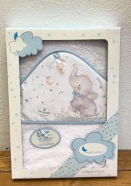 Interbaby badcape olifant wit blauw