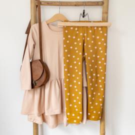 Legging - Pink dots mosterd