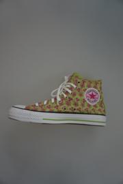 All Stars, CT Eyelet Hi, hoog, canvas, met Flower borduur, groen met pink 39½