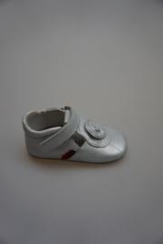 Shoesme, kruip-loopschoentje, t-band model met bloem, geheel leer, zacht metallic zilver 22