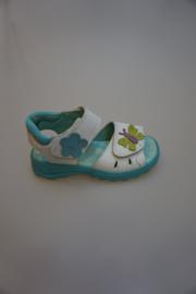 Ricosta, leren sandaal met verstelbare klittenbanden, leer van binnen, zool aqua, wit combi, 29  31