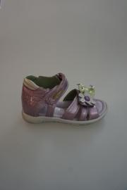 Rondinella, leren sandaal, leer gevoerd, dichte hiel, klittenbandverstelaar/-sluiting, lak lila