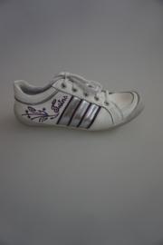 Twins, leren veterschoen, zonder rits, stootneus, leer gevoerd, wijdtemaat 3½ wit met lila en zilver 31