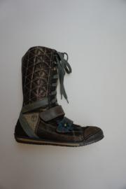 Rondinella, leren veterlaarsje met stootneus, rijke applicaties, stootneus, leer gevoerd, bronce/kaki 29