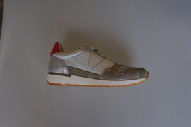 SPM, leren sneaker met veter, zilver, grijs en rose maat 38