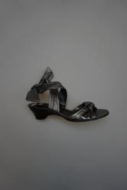 Via Vai, sandalet, met strikband, laag hakje, metallic leer, leer gevoerd, dark silver 37 38