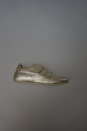 Bumper, leren schoen met klittenband, leer gevoerd, strass zijkant, goud metallic