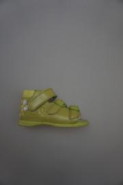 Daumling, perlato glad leren sandaaltje met gespjes verstelbaar, sluit met klittenband, dichte hiel, leer voetbed,groen, 19 20 22