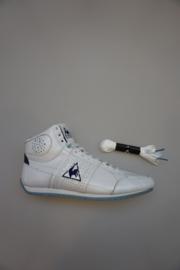 Le Coq Sportif, Mid hoge leren sneaker, met witte veters,( 2 paar) satijn en katoen, bright white/blue 36 38