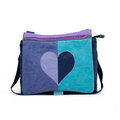 Zebra trends Junior  Canvas A4tas met flap, Duo hart in glitter, blauw-lila