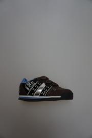 Quick, lage klittenbandschoen met stootneusje, leer/nubuck, geen leer van binnen, valt klein uit, bruin. multi 22