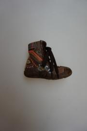 Pinnochio, veterbootie, leer met stootneusje, alleen voor extra smalle voetjes, ritsje, leer gevoerd, stootneusje, colorique/bloem, bruin 20