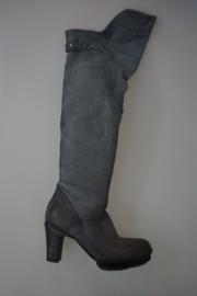 Airstep extra lange laars met over the knee kap, leer gevoerd, stoere zool en hak, inox grijs 36,  38