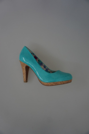 Marco Tozzi pump turquoise lak (geen leer) met plateau hak 9cm 37
