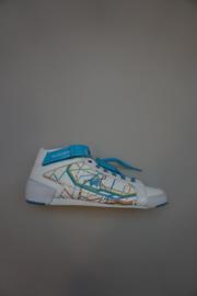 Le Coq Sportif, mid hoge sneaker leer, binnenkant geen leer, veters in aqua en wit, stootrand, geen rits, klittenband boven, wit aqua, 38