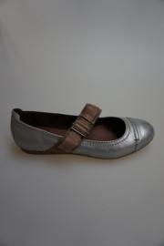 Carmens, leren bandschoen, leer gevoerd, metallic zilver met bruine band 37