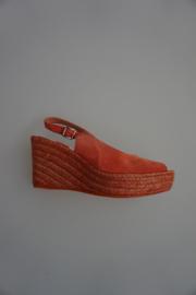 Toni Pons, espadrille, sleehak, nubuck, open hiel, peeptoe/open teen, koraal rood 38