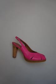 Tamaris, sandalet, lak , open teen en open hiel, plateau zooltje, gespbandje, leren binnenzool, fuchsia 38  40