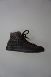 All Star sneaker in leer met veter, mid, tattoo print , 38