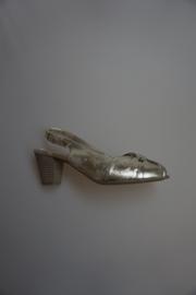 Ara, leren sandalette, leer gevoerd, open teen, open hiel, metalic kid, goudkleurig 38½