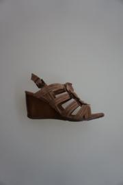 Carmens, sandalet met sleehak, nubuck leer met bloemen, taupe 39