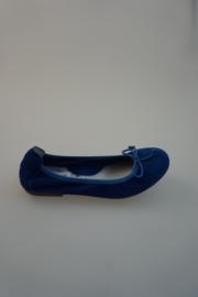 Acebo's, leren ballerina met strikje, nubuck leer, leer gevoerd, kobalt blauw  35