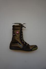 Lepi, metallic, veterlaarsje, leer en leergevoerd, stootneus, bronce/kaki 31 32