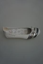 Le Coq Sportif, leren ballerina, metallic stripe met strikje, binnenkant geen leer, uitneembare binnenzool, wit 36