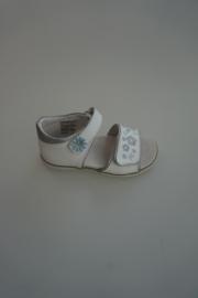 Twins, leren sandaal, leer gevoerd, dichte hiel, klittenbandverstelbaar/-sluiting, wit