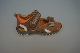 Track Style , leren sandaal met velcro, leren voetbed, dichte hiel, bruin   25