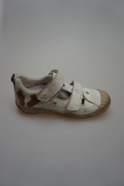 Froxy, gladleren half open schoen met stootneus, losse binnenzool, leer gevoerd, klittenbandsluiting, wit vintage