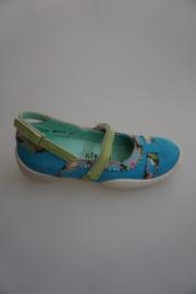 Cakewalk, bandschoen, nubuck leer, leer gevoerd, aqua blauw met bloemenprint   34