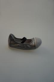 Acebo's, leren ballerina, met dun elastidch bandje, zilver grijs