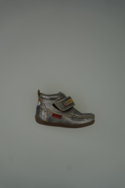 Shoesme klittenbandschoentje, metallic leer, flexibele zool, leer van binnen, donker zilver  22