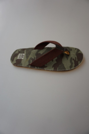 Gioseppo, teen slipper, groen camouflage, webbing band, canvas, platte zool, groen/bruin 39