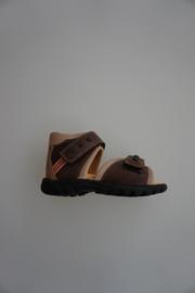 Daumling, leren sandaal, leer gevoerd, klittenbandverstelbaar/-sluiting, dichte hiel, bruin, 24
