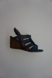 Carmens, sandalet met sleehak, nubuck leer met bloemen, Blue