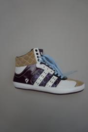 Quick, sneaker, mid hoog model, leer, niet leer gevoerd, losse binnenzool,  multi color wit dark sand, violet