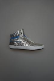 Quick, sneaker mid hoog in metallic leer, losse binnenzool, niet leer gevoerd, zilver 36 38 39 40
