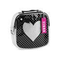 Zebra trends, vierkant rugzakje,  zilver -zwart met zilveren hart, sterretjesprint