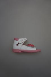 Ricosta, leren klittenband sandaal, verstelbaar op voet, dichte hiel, leren voetbed, dichte hiel bloem, wit/rose 22, 24