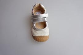 Shoesme, leren bandschoentje met stootneusje en flexibele zool, leer gevoerd, klittenbandsluiting op de wreef, off white zilver maat 21