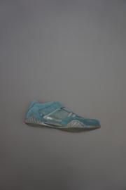 Renata, leren klittenbandschoen, nubuck met metallic, leer gevoerd, blauw