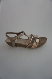 Pitt, sandaal met sleehak, flower/ taupe