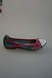 Acebo's leren ballerina, leer gevoerd, zilveren neus, leer met snake print in multi color fuchsia groen