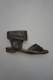 Marco Tozzi, sandaal met opengewerkte schacht, geen leer, ritsje, bruin 38
